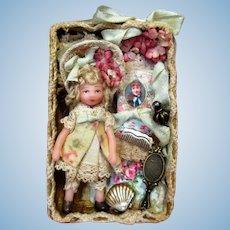"""Sweet 2"""" Miniature OOAK artist Dollhouse doll in mini display box"""