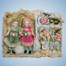 "Two Sweet 3 1/2""  Bisque  Swivel head Mignonette Sister dolls in Display Box"
