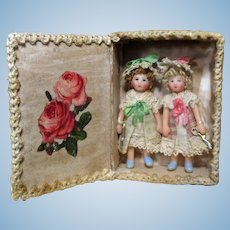 "Two So tiny 2"" Miniature OOAK artist Dollhouse dolls in box"
