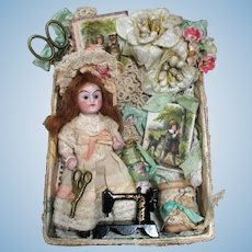 """Lovely 31/2"""" All Bisque (glass eyes) Mignonette Doll in Lace Display Box"""