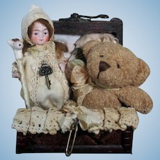 """Sweet 8"""" Bisque head(glass eyes, swivel head) Mignonette doll & 31/2"""" Baby doll in Trunk"""
