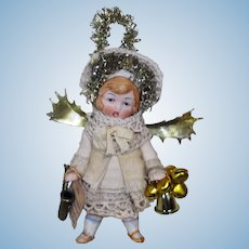 """"""" Golden Tree Angel"""" Tiny 31/2"""" All Bisque Miniature Christmas Angel Doll Ornament"""