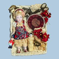 """Sweetest 4 1/2"""" All Bisque Antique German doll & Baby in Display Box"""