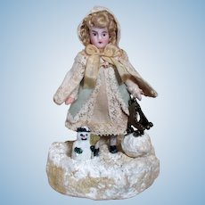 """Season's  Greetings"" Tiny 3"" all Bisque German Dollhouse Doll & Snowman (Winter Especial)"