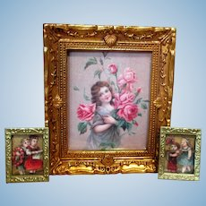 Three Miniature Dollhouse Framed Flower Girl & Children Pictures/ Frames