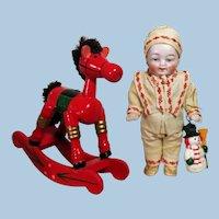 "Sweet Little 4"" All Bisque German Elfish Baby Boy with wooden Rocking Horse"