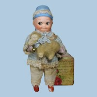 "Sweetest 5"" All Bisque (Swivel head) Miniature Dollhouse Doll & Woolly Lamb"