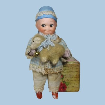 "Sweetest 5"" All Bisque (Swivel head) Miniature Dollhouse Doll & Woolly Lamb"