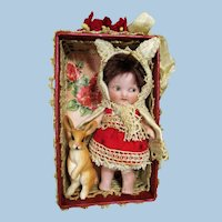 """Chubby Little  3 1/2"""" All Bisque Miniature dollhouse Doll In Bunny Outfit & Little Rabbit"""