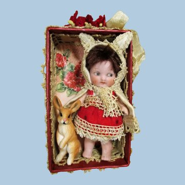 "Chubby Little  3 1/2"" All Bisque Miniature dollhouse Doll In Bunny Outfit & Little Rabbit"