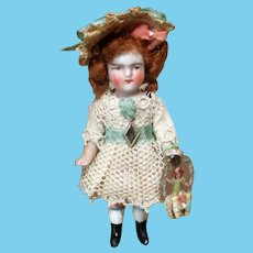 """Tiny sweet 31/2"""" All Bisque Miniature Dollhouse doll"""