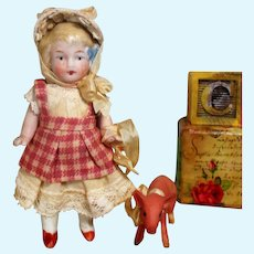 """Sweet Little 3 3/4"""" All Bisque Miniature Country cottage girl doll & pig friend"""