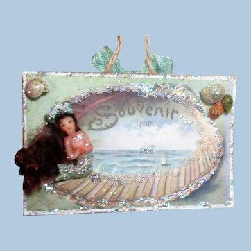 """Souvenir From The Sea"" Tiny 1"" OOAK Artist Mermaid doll on Keepsake card,"