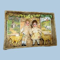 """Two 4"""" All Bisque (Glass eyes, swivel head) Mignonette Brother & Sister dolls in Easter Box"""