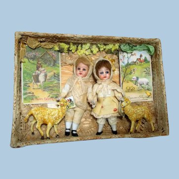 "Two Sweet 4"" All Bisque (Glass eyes, swivel head) Mignonette Brother & Sister dolls in Easter Box"