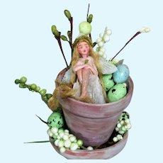 """ Tiny Easter Guardian Fairy""  2"" OOAK (Artist) Sparkling fairy"