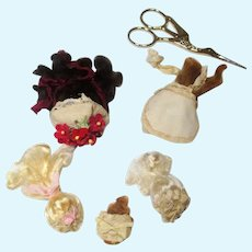"""Group of 5 Mini/Tiny Mohair Doll wigs for tiny 3""""-6"""" all bisque Antique German, French/ Mignonette / Doll house doll"""