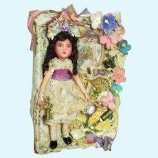 "Sweet 31/2"" Miniature OOAK Art Dollhouse doll in display box"