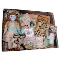 """Precious 6"""" All Bisque ( Swivel head) Mignonette doll in Box of Laces & more"""