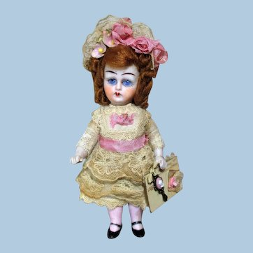 "Gorgeous 5"" All Bisque (glass eyes, Swivel neck) Mignonette Little Lady doll"