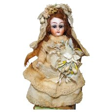 """Gorgeous 41/2"""" All Bisque (Glass eyes, swivel head) Mignonette Bride Doll"""