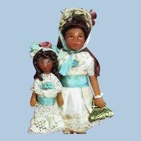 "Tiny sweet 3 1/2"" Miniature OOAK artist Dollhouse doll & 2"" Dolly"