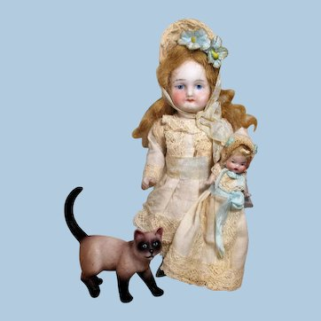 "Lovely 6"" All Bisque Mignonette Dollhouse doll with 21/2"" Baby doll & kitten"