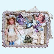 "Tiny 13/4"" OOAK  (Artist) Miniature  Dollhouse doll in mini Display/ vignette Box"