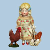"""Sweet 4 1/4"""" All Bisque Miniature German Dollhouse doll  with Chicken"""