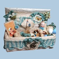 """Tiny  3 1/2"""" All Bisque Miniature German Baby Dollhouse doll with Trunk of mini accessories"""