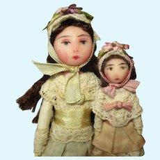 "Sweet "" August"" Sisters, Two Tiny Miniature Dollhouse dolls in keepsake box"