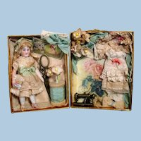 """Tiny  3 1/4"""" All Bisque German Miniature Dollhouse doll in Sewing Display Box"""
