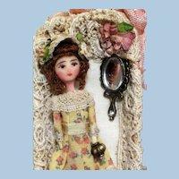 "Tiny 2 3/4"" Miniature OOAK Art Dollhouse doll in keepsake box"