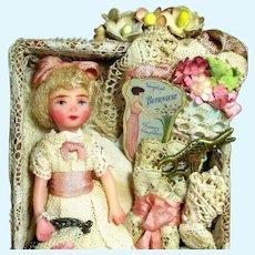 """Tiny 3 1/4"""" Miniature Artist Dollhouse doll in Mini Sewing Display Box"""