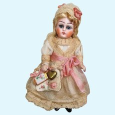 "Gorgeous 41/2"" All Bisque (Glass eyes, swivel head) Mignonette Doll"