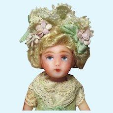 """Tiny 31/4"""" Miniature OOAK Art Dollhouse doll"""