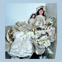"Lovely 5 1/4"" OOAK Bride & 23/4"" Bridesmaid in box of mini accessories"