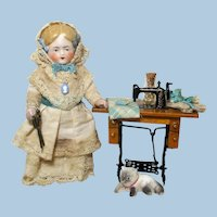 """Lovely 5"""" All Bisque German Miniature Dollhouse Lady doll w/ Sewing machine & cat"""
