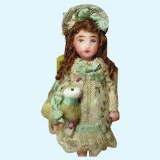 "Sweet 31/2"" Miniature OOAK dollhouse doll with little woolly lamb"