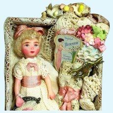 """Sweet 3 1/4"""" Miniature Artist Dollhouse doll in Mini Sewing Display Box"""