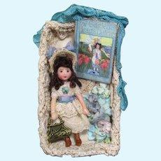 """Tiny 2"""" Miniature OOAK Art Dollhouse doll in display box"""