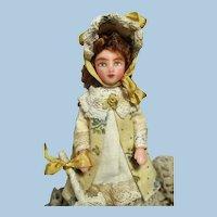 "Lovely 41/4"" Miniature OOAK ( Artist) Dollhouse Victorian style lady doll"