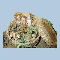 "Sweet 31/2"" Bisque (Swivel head) Mignonette doll in box of mini accessories"