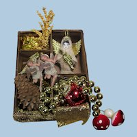 "Tiny 21/4"" Christmas Angel with box of mini Ornaments"