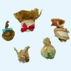 """Group of 5 Mini/Tiny Mohair Doll wigs for tiny 2""""-(31/2"""" -4"""") all bisque Antique German, French/ Mignonette / Doll house doll"""