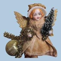 "Precious 43/4"" OOAK Bisque Head, Spun Cotton Poseable Christmas Angel"