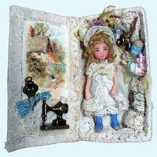 """Tiny 2"""" Miniature OOAK Dollhouse doll in mini Sewing display box"""