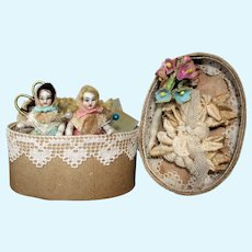 """Two Tiny 2"""" All Bisque Miniature Dollhouse doll in mini sew box"""