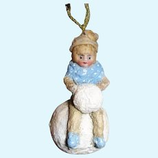 """Tiny 3 1/4"""" Bisque Head Miniature Winter/Snow Girl Ornament, Christmas Tree Doll"""