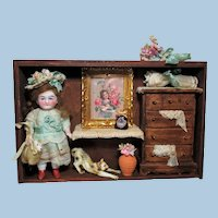 """Sweet 41/2"""" All Bisque German doll in Room Box  with mini accessories"""